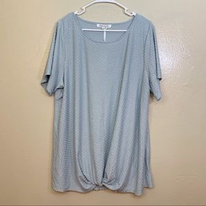 💙ROSE+OLIVE FRONT KNOT W/ DOTS TOP NWT SZ 2X